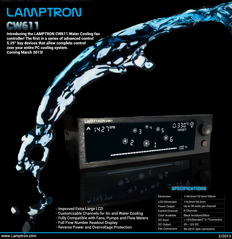 Lamptron CW611: water cooling fan controller in arrivo